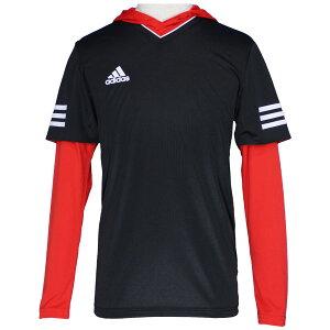 TANGOCAGEレイヤリングシャツブラック×レッド【adidas|アディダス】サッカーフットサルウェアーbun66-b47658