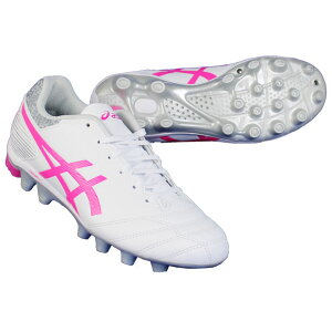 ジュニアDSライトJRGSホワイト×ピンクグロウ【asics アシックス】サッカージュニアスパイク1104a019-100