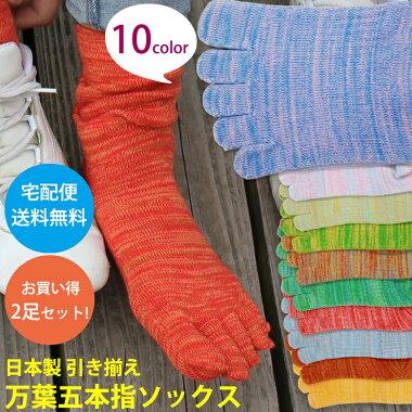 送料無料 2足セット 日本製 5本指靴下 五本指ソックス 引き揃え