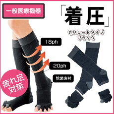 【医療用着圧ソックス】メディプラス・足指オープナー付き(2足組)セパレートタイプ!【ブラック】