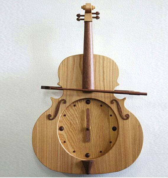 振り子時計 バイオリンの振り子時計 ニレ 木製 天然木 国産 ヴァイオリン 音楽 楽器 プレゼント 贈り物 有限会社すぎ