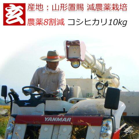 減農薬 玄米 10kg 送料無料 農薬8割減・化学肥料不使用 山形県産 1等米 こしひかり 特別栽培認証産年:令和元年 生産農家 小林 亮氏