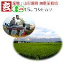 無農薬 玄米 15kg 送料無料 JAS有機認証 1等米 コシヒカリ 農薬不使用 山形県産 置賜地区限定産年:令和2年 生産者:小林 亮 1