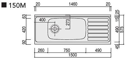クリナップ【ステンキャビキッチンSK流し台間口150cm■■■150M(R?L)】■は色品番