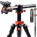 "【67""/170cm】K&F Concept TM2515T1 プロフェッショナル カメラ三脚 水平アルミニウム三脚 ポータブル一脚 360度ボールヘッド付き クイックリリースプレート Canon Nikon Sony DSLRカメラ用"