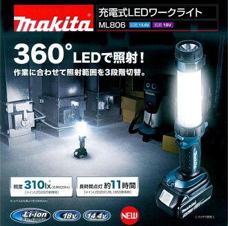 マキタ電動工具14.4V/18V用充電式LEDワークライトML806【バッテリー・充電器は別売】