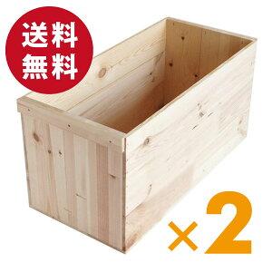 りんご箱 木箱 B20KT 【取手付】2箱セット (荒仕上げ) / リンゴ箱 木製 アンティーク風 リ...