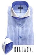 BILLACKメンズワイシャツ長袖シャツブルーストライプホリゾンタルクレリックビジネスお洒落着KF2039-6
