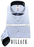BILLACK綿100%メンズワイシャツ長袖形態安定シャツブルー刺子チェックラウンドホリゾンタルビジネスお洒落着KF2044-5