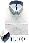 BILLACK綿100%メンズワイシャツ長袖形態安定シャツ白ドビーチェックレギュラータブカラービジネスお洒落着KF2044-1