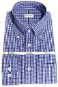 メンズ ワイシャツ 長袖 形態安定 シャツ ブルー ギンガム チェック ボタンダウン ビジネス おしゃれ KF2052-4 1