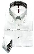 メンズワイシャツ長袖白ドビーチェックボタンダウンシャツ形態安定ビジネスおしゃれKF2045-3