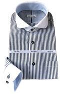 メンズワイシャツ長袖シャツブルーロンドンストライプクレリックラウンドカラーシャツビジネス形態安定おしゃれKF2046-4