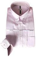 メンズワイシャツ長袖形態安定ピンクドビーストライプピンホールレギュラーカラービジネスおしゃれKF2047-3