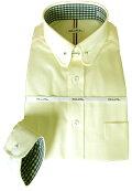 メンズワイシャツ長袖形態安定クリームイエローピンホールラウンドカラービジネスおしゃれKF2047-4