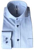 メンズワイシャツ長袖32ゲージニットブルーホリゾンタルワイドカラービジネスおしゃれKF2049-2