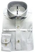 メンズワイシャツ長袖32ゲージニットシャツグレーラウンドホリゾンタルワイドカラービジネスおしゃれKF2049-4