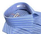 メンズワイシャツ長袖形態安定シャツブルーストライプクレリックホリゾンタルワイドカラービジネスおしゃれKF2056-1