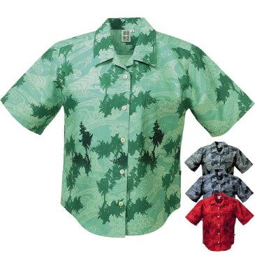 かりゆしウェア かりゆしウェアレディース 沖縄産アロハシャツ 珊瑚物語 デイゴ・バック紅型風柄 リゾートウェディング 結婚式 ギフト プレゼント 母の日