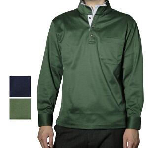 【送料無料】 メンズ ストライプ布帛スタンドカラー長袖シャツ 日本製 (父の日 プレゼント ギフト ゴルフ ゴルフウェア 贈り物 シニア 紳士 男性用 40代 50代 60代)