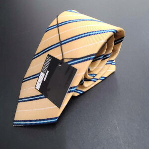 MICHIKO LONDON KOSHINO/ミチコロンドンコシノ/necktie/ネクタイ/MADE IN JAPAN/日本製/国産/イエロー/メンズファッション/京都西陣織/ストライプ