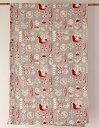 マルチカバー おしゃれ 北欧 長方形 アジアン かわいい 小鳥と花柄 フラワーバード インド綿 ヒュッゲ グレー レッド 赤 GY ベッドカバー ソファカバー マルチクロス シングル コットン 綿100% 綿 幅145cm 丈225cm