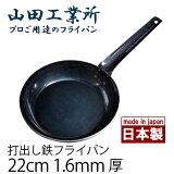 山田工業所 鉄打出 フライパン 22cm 1.6mm厚 鉄製