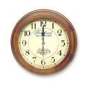 あす楽さんてる レトロ 電波掛時計丸型アンティークブラウンDQL711昭和レトロ調木目アナログ時計ウォールクロック電波時計壁掛け時計日本製