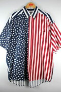 "USED!!!STRUCTURE/""STARS&STRIPES""SSBUTTON-DOWNSHIRTS(90'S)/white×navy×red"