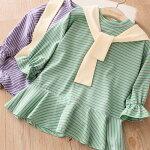 【新作】キッズワンピース韓国風子供服ボーダー女の子秋物90cm100cm110cm120cm130cm140cm
