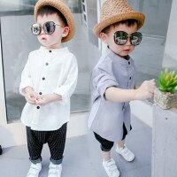 男の子子供服かわいい白グレーYシャツ長袖Tシャツキッズジュニアトップス80cm90cm100cm110cm120cm韓国子供服送料無料
