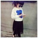 女の子星柄2点セットセットアップホワイト長袖トップスブラックスカッツスカート付きレギンス総柄ワンポイント可愛いキッズジュニアチュールレース100cm 110cm 120cm 130cm 140cm 韓国子供服