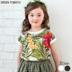 GREENTOMATOボタニカル柄熱帯フラワー半袖Tシャツ
