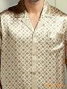 小さめ商品 半袖シルクパジャマ金色【歯車柄】19匁絹100%メンズ/紳士ll【送料無料】父の日 敬老の日プレゼントギフト【smtb-KD】【楽ギフ_包装選択】あす楽対応【RCP】
