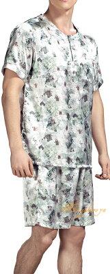 Lのみ メンズパジャマ【アート柄】半袖半ズボン グリーン シルク100%【送料無料】父の日 敬老の日 プレゼント ギフト【smtb-KD】【楽ギフ_包装選択】あす楽対応