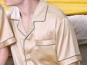 メンズシルク100%無地パジャマ半袖ゴールド金色
