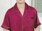 メンズシルク100%無地パジャマ半袖赤紫色パープル