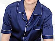 メンズシルク100%無地パジャマ半袖ネイビー紺色