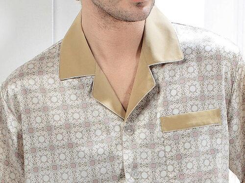 半袖シルクパジャマ 浅紫色(パープル) 19匁絹100% メンズ/紳士 ルームウェ...