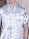 クロスU柄 空色 半袖メンズシルク100%パジャマ ブルー 絹100%紳士【送料無料】父の日 敬老の日プレゼントギフト【smtb-KD】【楽ギフ_包装選択】あす楽対応【RCP】