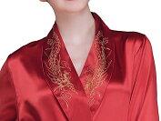 シルクガウン(赤色レッド)鳳凰刺繍