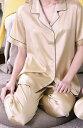 19匁シルク100%パジャマ半袖(金色)【無地】絹100%レディース llゴールド【送料無料】母の日 敬老の日プレゼントギフト【smtb-KD】【楽ギフ_包装選択】あす楽対応【RCP】紳士用と合わせてペアパジャマに