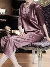 半袖シルクパジャマ無地と花レース茶紫色