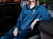 シルク100%パジャマレディース花刺繍(長袖/ブルーグリーン)