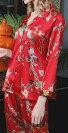 シルク100%パジャマレディース(長袖/ピンク)花柄