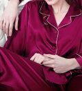 シルク100%パジャマレディース無地長袖赤紫色パープル
