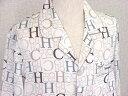 アウトレット 長袖シルクパジャマ【アルファベット柄 オフホワイト】19匁絹100%メンズ/紳士 ルームウェアーll【送料無料】あす楽対応
