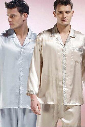 シルク100%パジャマ(ベージュ・灰色(グレー) 絹100%長袖 メンズ/紳士 ル...