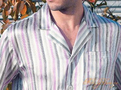 高級シルク100%パジャマ 赤紫&灰色のストライプ 長袖 メンズ 紳士 絹100%【送料無料】父の日 敬老の日 プレゼント ギフト【smtb-KD】【楽ギフ_包装選択】あす楽対応【RCP】