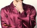 アウトレット 高級シルク100%パジャマ 【ヨット&イカリ】長袖ワインレッドメンズ紳士絹100%【送料無料】【smtb-KD】【楽ギフ_包装選択】あす楽対応【RCP】